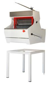 cortadora de pan sobre mesa con soporte