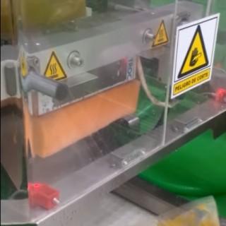 Linea de envasado ENVASEF con dosificador de productos líquidos y pastosos con sólidos (comida precocinada).